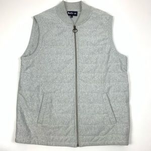 Barbour Gray Knit Full Zip Pocket Mock Neck Vest